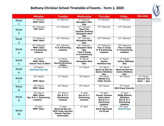Timetable of Events - Term 1 2020.pdf